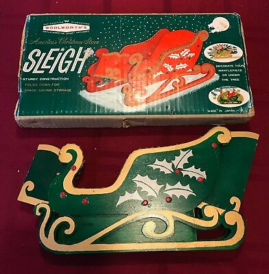 Vintage WOOLWORTH'S Collapsible Folding Wood Christmas Sleigh Decor w Box JAPAN