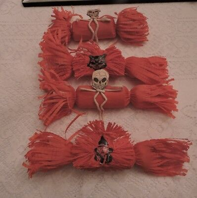 ANTIQUE DENNISON HALLOWEEN CREPE PAPER FAVORS with DIECUT SKELETON WITCH CAT