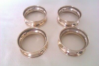 Stunning Set Of 4 Solid Silver Napkin Rings I.W.Broadway & Co 1984