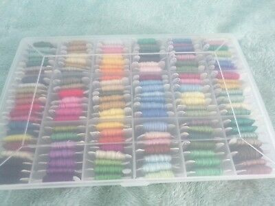 **138 DMC Embroidery Cottons in Plastic Storage Box full/part Skeins**