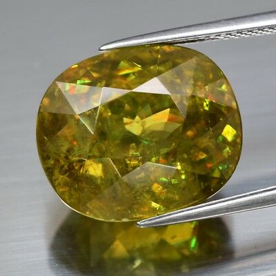 15.30ct 15.7x13.3mm Oval Natural Greenish Yellow Sphene, High Luster