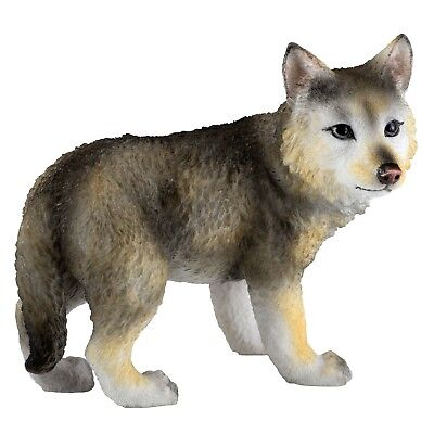 "Standing Wolf Cub Pup Figurine 4.25"" High Detailed Polystone New In Box"