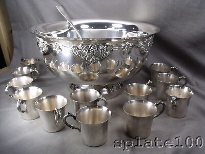 Massive Wallace Harvest Pattern Silver Plate Punch Bowl With 12 Matching Cups
