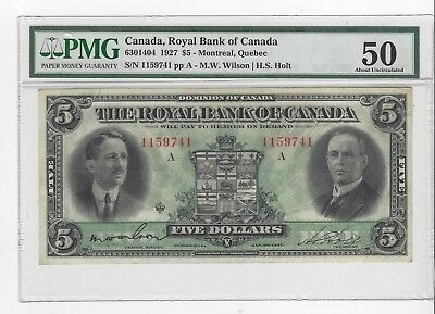 *1927*Royal Bank of Canada $5 Note Wil/Hol Cat#14-04 SN# 1159741 PMG AU-50