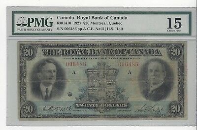 *1927*Royal Bank of Canada $20 Note Nei/Hol Cat#14-10 SN# 006486 PMG F-15