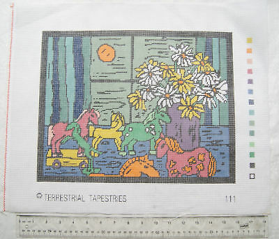 Unused printed tapestry canvas No. 111 toy ponies and flowers