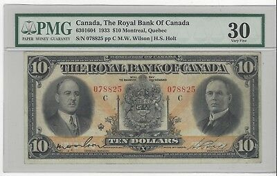 *1933*Royal Bank of Canada $10 Note Wil/Hol Cat#16-04 SN# 078825 PMG VF-30