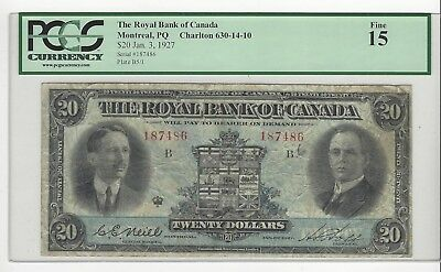 *1927*Royal Bank of Canada $20 Note Nei/Hol Cat#14-10 SN# 187486 PCGS F-15