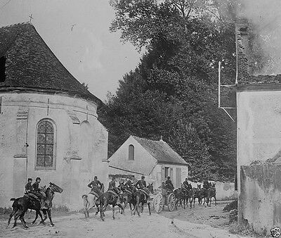 French artillery passing through Chauconin-Neufmontiers World War I 8x10 Photo