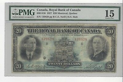 *1927*Royal Bank of Canada $20 Note Nei/Hol Cat#14-10 SN# 139828 PCGS F-15