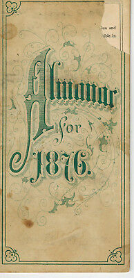 Almanac 1876 Booklet Inc. Eclipses + Declaration of Independence Unknown Maker