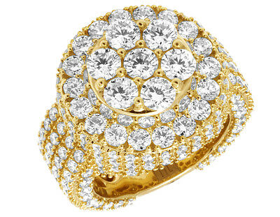 Mens 3D Eternity Round Cluster Real Diamond Iced Pinky Ring 14K Yellow Gold 8CT