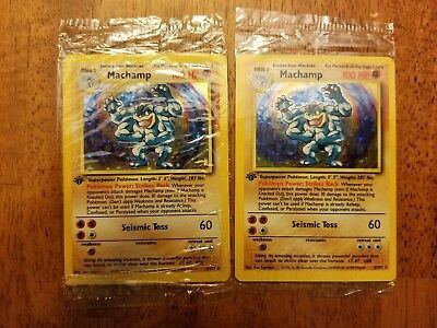 1 Only Machamp 1st Edition HOLO RARE Base Set  8//102 Factory Sealed L@@K!!!