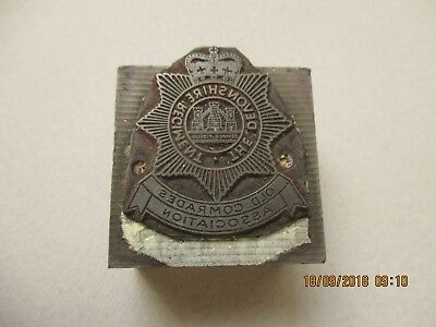 The Devonshire Regiment. Old Comrades Association Printing Block