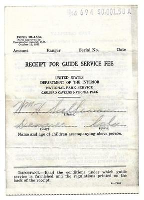1931 recipt for Guide, Carlsbad Caverns, NM