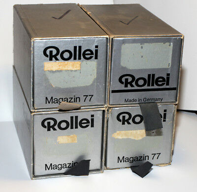 4 Rollei 6 x 6 Magazines 77 mit / with Gepe Glas Diarahmen / Slide Mounts, used