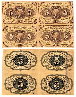 1862 63 5 Cent U S Fractional 4 Uncut Subject Notes 1st Issue FR#1230 VF+ NICE
