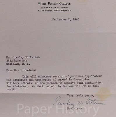 1940 Wake Forest College Admissions Letter - Finkelman, Greenbriar Military
