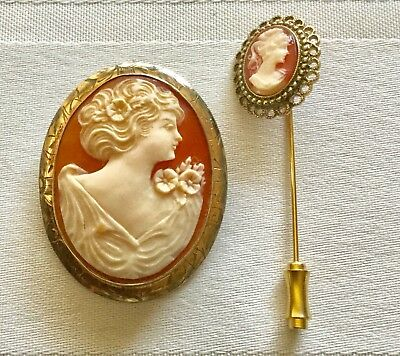 12k Gold Filled Cameo And Stick Pin