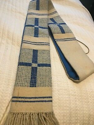 Vintage Catholic Priests Woven Ivory & Blue Stole By The Holy Rood Guild