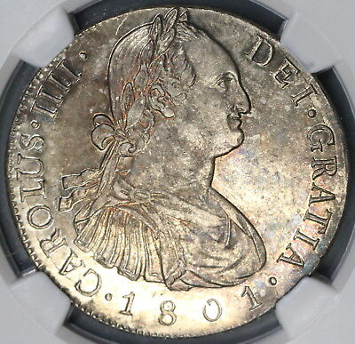 1801 NGC AU 58 Guatemala 8 Reales Spain Colony Silver Coin POP 1/1 (15112903D)