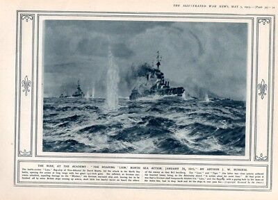 The Roaring Lion North Sea Action WW1 1915 Vintage Rare Antique War Print