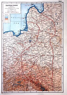 WW1 Vintage Antique Original 1920 Print Map Of The Eastern Front North