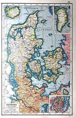Vintage Antique Original 1920 Print Map Of Denmark Greenland & Town Maps Of ....