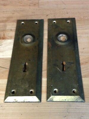 2 Antique Vintage Door Knob Key Hole Lock Plate Part