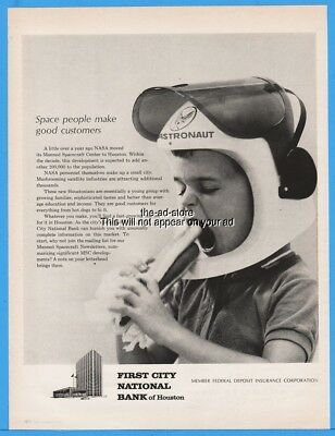 1963 First National City Bank NY Space People Boy Astronaut Eating Hot Dog Ad