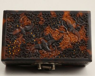 Tortoiseshell Hand-Carved Eagle Statue Skeleton Jewelry Box Chinese Collection