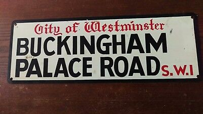 British metal street sign buckingham palace road city of westminister S.W.I.
