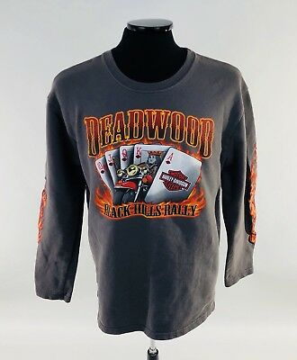 "Harley-Davidson Mens Medium Long Sleeve T-Shirt ""Deadwood Black Hills Rally"""