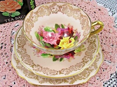 STANLEY RED PINK YELLOW ROSES FANCY GOLD TRIO TEA CUP and SAUCER