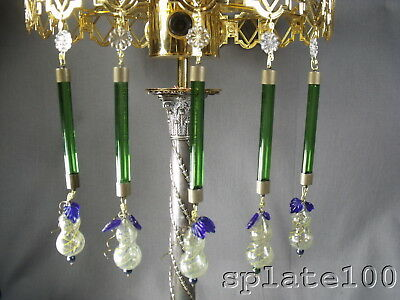 Wow 30 Green Tube Prisms With Flower Prism And Blown Art Glass Fruit Czech Glass