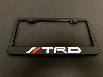 1x //TRDstyle BLACK Stainless Metal License Plate Frame + Screw Caps (WRed)