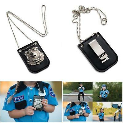 Pretend Agent Officer Police Special Badge With Chain Belt Clip Kids Game Props