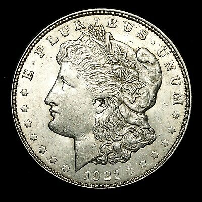 1921 D ~**ABOUT UNCIRCULATED AU**~ Silver Morgan Dollar Rare US Old Coin! #652