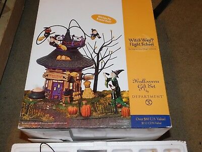 "Department 56 ""WITCH WAY FLIGHT SCHOOL"" 56.55347 ANIMATED & RETIRED 2004"