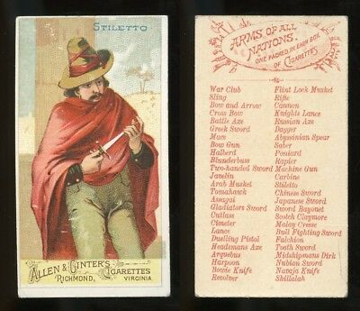 """1887 N3 Allen & Ginter Arms of All Nations """"Stiletto"""" VG **AA-9095**"""