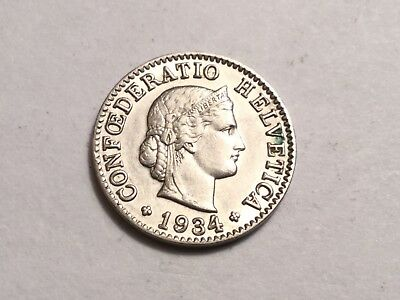 SWITZERLAND 1934 5 Rappen coin about uncirculated