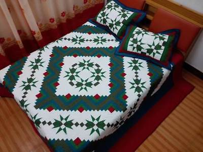 King size With sham Machine pieced and quilt Log Cabin Quilt#98