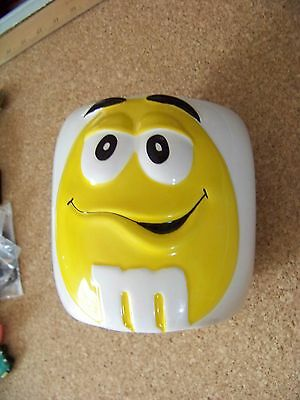 Yellow M&Ms white porcelain cookie jar canister no lid M & Ms crazing