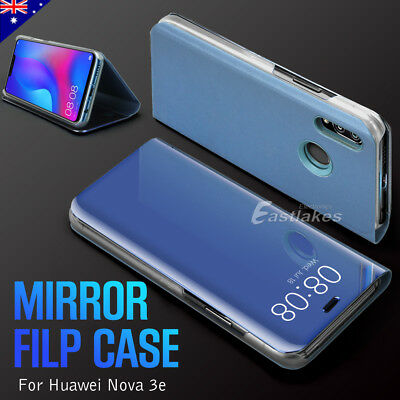 NEW Luxury Slim Mirror Flip Case Cover With Stand For Huawei nova 3e AU