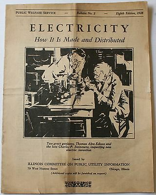 1928 Electricity How It Is Made & Distributed Public Welfare Service Booklet