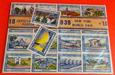 """1939 New York World's Fair 18 Official Poster Stamps On Card 1 1/2X2"""" Each"""