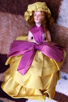 """10.5"""" Tall Gorgeous Antique Art Deco Lady Composition Half Doll Pin Cushion 1920"""