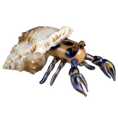 """Hand Blown Art Glass Marbled Hermit Crab In Shell Figurine 3.25"""" Long New!"""