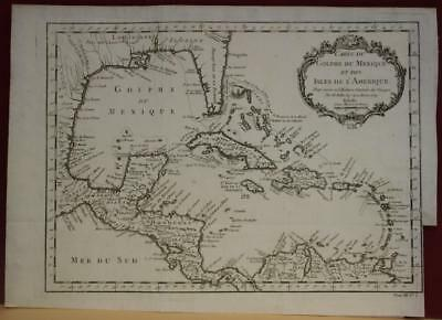 West Indies Caribbean Central America Gulf Of Mexico 1754 Bellin Antique Map