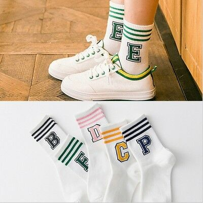 2018 New Letter and stripe pattern women Cotton Sock Wholesale Casual female Soc